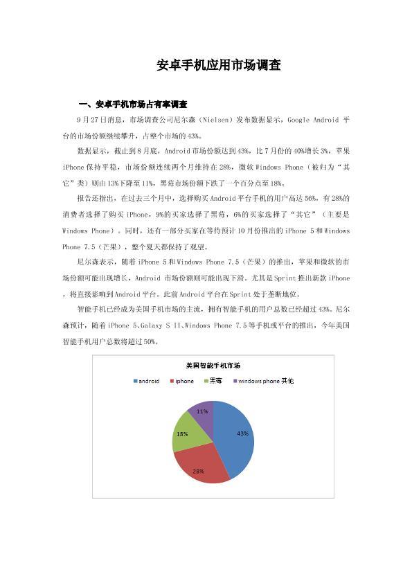 安卓手机应用市场调查