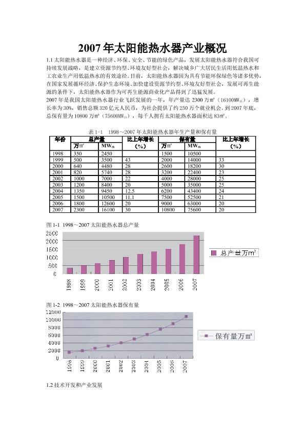 2007年太阳能热水器产业概况