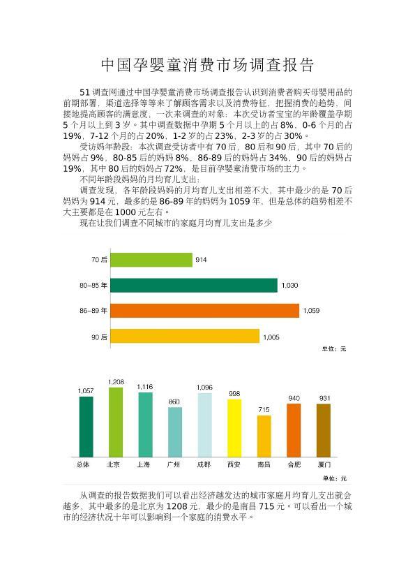 中国孕婴童消费市场调查报告
