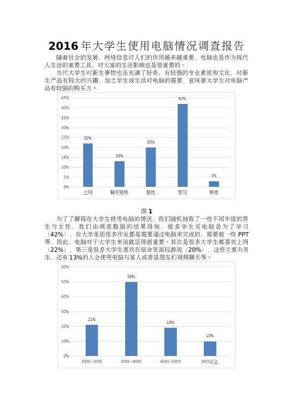 2016年大学生使用电脑情况调查报告