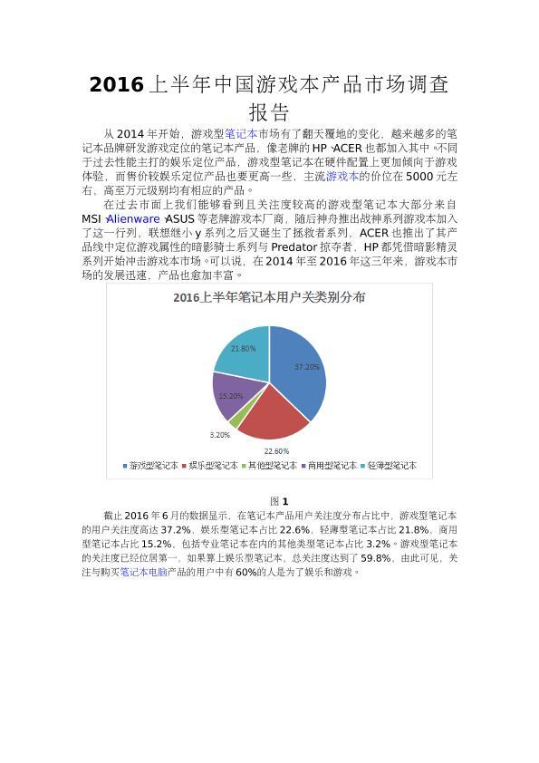 2016上半年中国游戏本产品市场调查报告