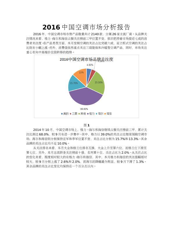 2016中國空調市場分析報告