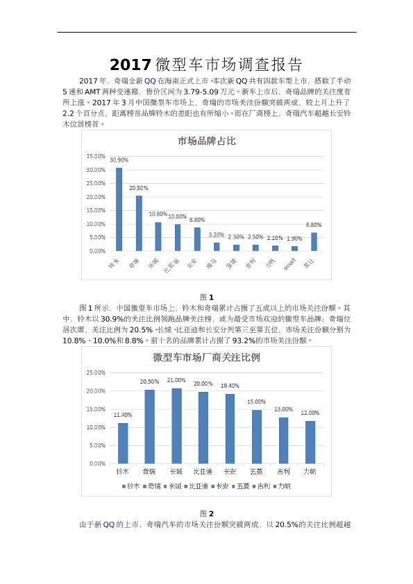 2017微型车市场调查报告
