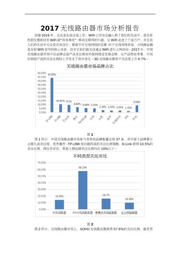 2017无线路由器市场分析报告