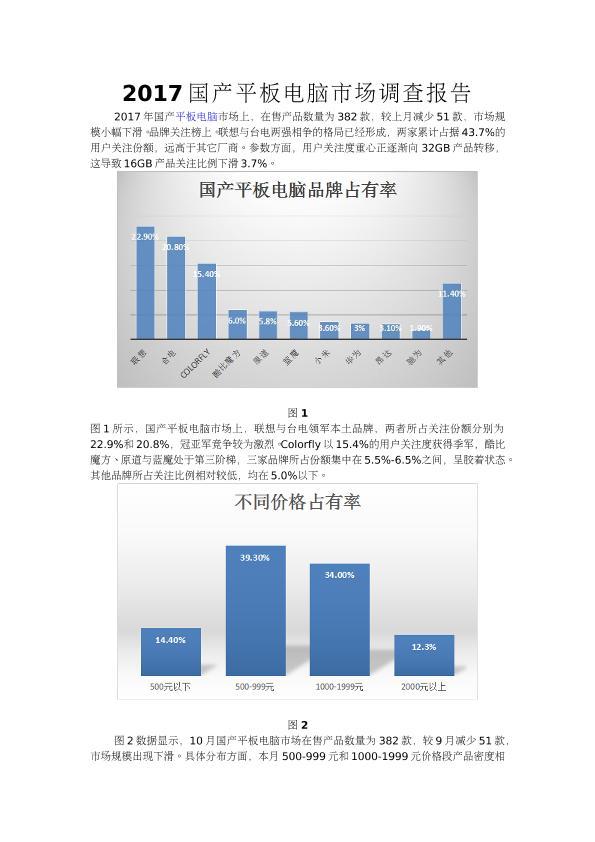 2017国产平板电脑市场调查报告