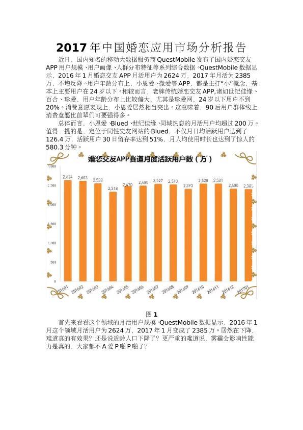 2017年中国婚恋应用市场分析报告